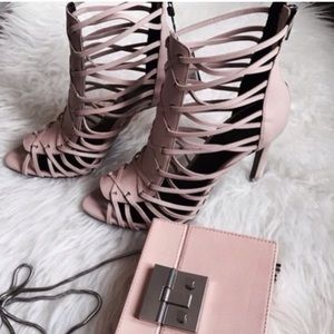 Pink / blush strappy open toe heels